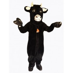Black Furry Bull Mascot Costume