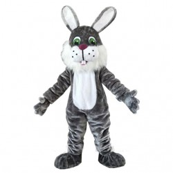 White Beard Black Rabbit Mascot Costume Easter Costume for Adult