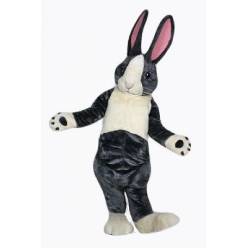 Black and White Pink Ears Rabbit Bunny Mascot Costume