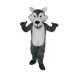 Short Plush Grey Wolf Mascot Costume