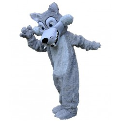 Long Plush Grey Wolf Mascot Costume