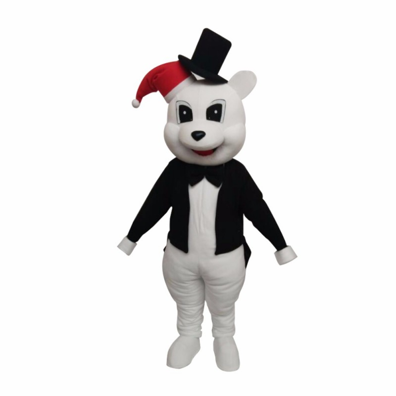 Animal White Bear With Black Jacket Christmas Mascot Costume