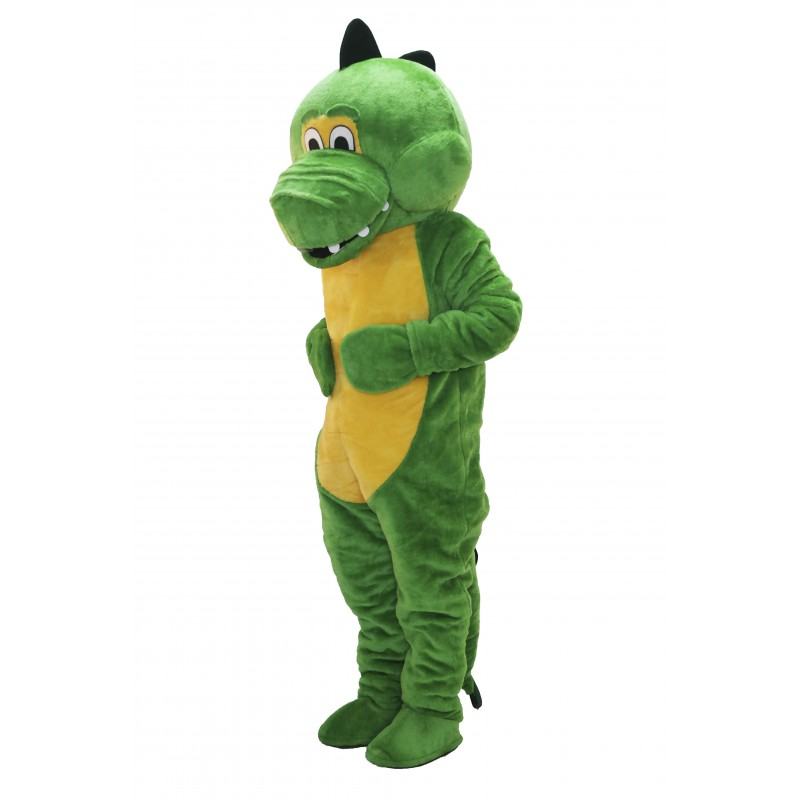 Cute Christmas Green Dinosaur Mascot Costume
