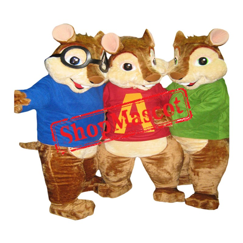 Alvin and the Chipmunks Costumes Alvin/Simone/Theodore Chipmunks Mascot Costume