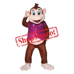 Monkey With Purple Waistcoat Mascot Costume