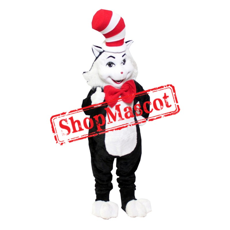 Black Cat With Hat Mascot Costume