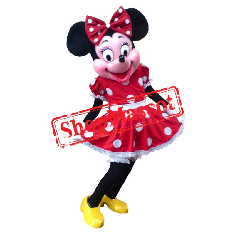 Mouse Clubhouse Deluxe Fiber Miss Red Mouse Minnie Mascot Costume