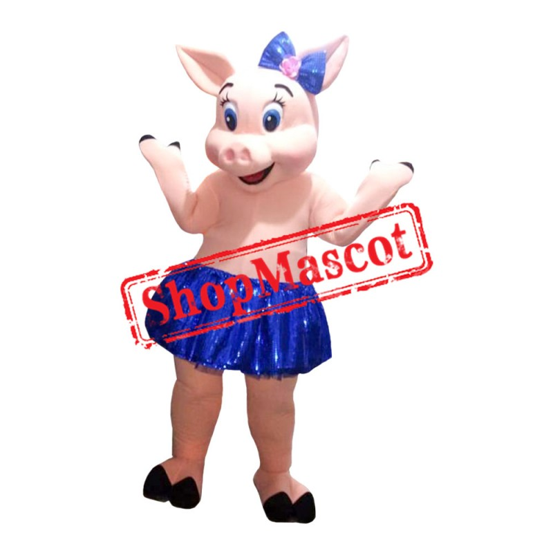 Pig With Blue Tutu Mascot Costume