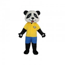 Panda Mascot Costumes Yellow T Shirt Free Shipping