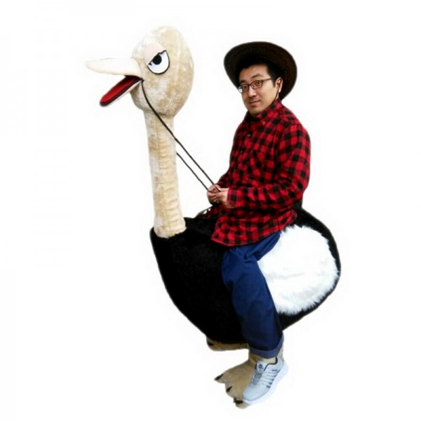 Riding an Ostrich Man Mascot Costume Free Shipping