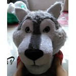 Cute Gray Wolf Long Wool Mascot Costume