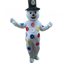 Colorful Petals Cartoon Snowman Mascot Costume