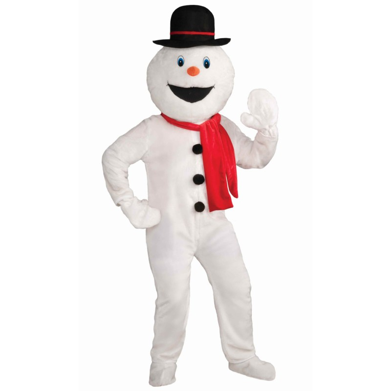 White Snow Man Red ScarfMascot Costume