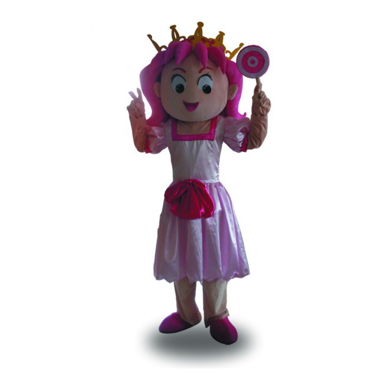 Princess Girl Mascot Costume Pink Dress Mascot Costume