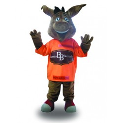 Cute Grey Donkey Mascot Costume